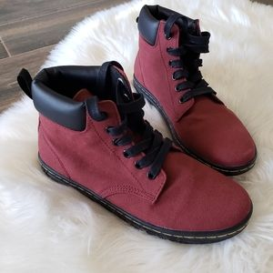 B2G1 NEW Dr. Martens Red Maelly Canvas Laced Boots